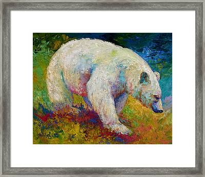 Creamy Vanilla - Kermode Spirit Bear Of Bc Framed Print by Marion Rose