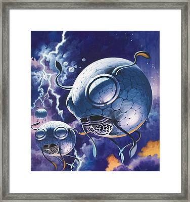 Creatures In Outer Space  Framed Print by Wilf Hardy