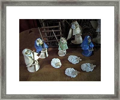 Creche Shepards And Sheep Framed Print by Nancy Griswold