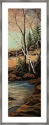 Creek Oak Birch Spruce Framed Print by Kimberly Benedict