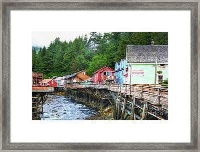 Creek Street In Ketchikan Framed Print by Mel Steinhauer