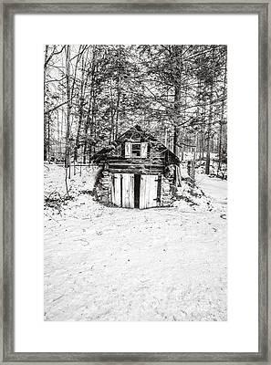 Creepy Winter Cabin In The Woods Framed Print by Edward Fielding