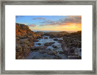 Crescent Bay Tide Pools At Sunset Framed Print by Eddie Yerkish