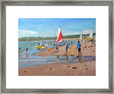 Cricket And Red And White Sail Framed Print by Andrew Macara