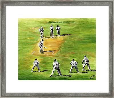 Cricket Duel Framed Print by Richard Jules