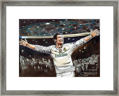 Cristiano Ronaldo Of Real Madrid Framed Print by Dave Olsen
