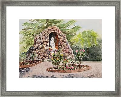 Crockett California Saint Rose Of Lima Church Grotto Framed Print by Irina Sztukowski