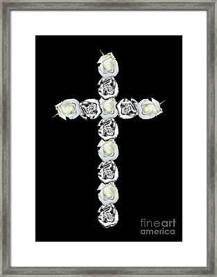 Cross Of Silver And White Roses Framed Print by Rose Santuci-Sofranko