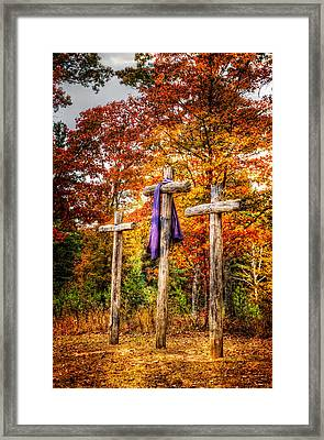 Crosses On The Hill Framed Print by Debra and Dave Vanderlaan