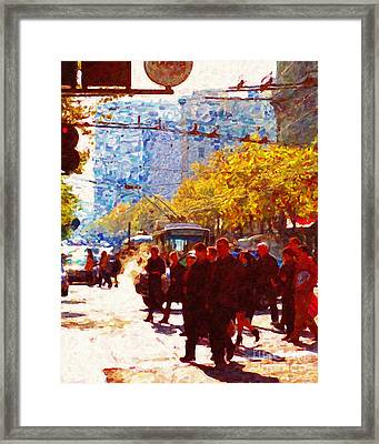 Crossing Market Street 2 . Photo Artwork Framed Print by Wingsdomain Art and Photography