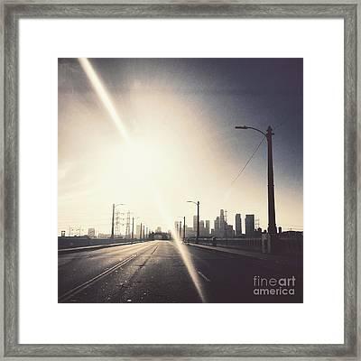 Crossing The 6th Street Bridge Framed Print by Maureen J Haldeman