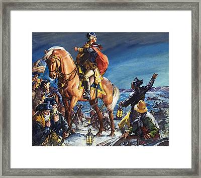 George Washington Crossing The Delaware River On Christmas Night Framed Print by James Edwin McConnell