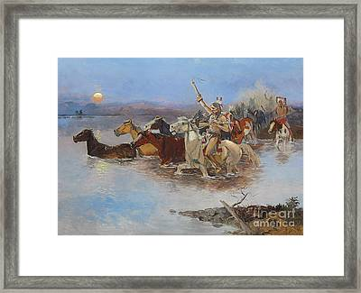 Crossing The River Framed Print by Charles Marion Russell