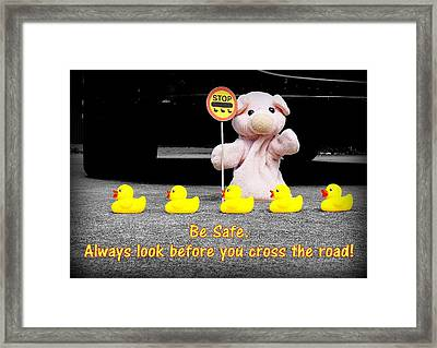 Crossing The Road Framed Print by Piggy