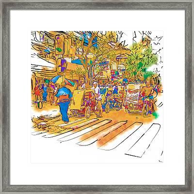 Crosswalk In The Philippines Framed Print by Rolf Bertram