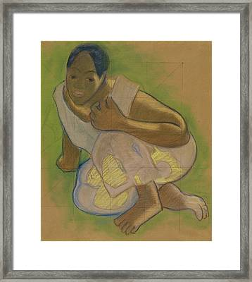 Crouching Tahitian Woman Framed Print by Paul Gauguin