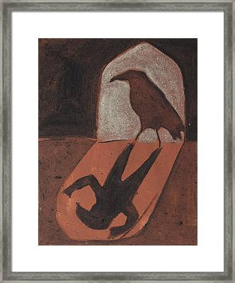 Crow In The Doorway Of Life With Woad Framed Print by Sophy White