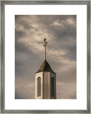 Crow On Steeple Framed Print by Richard Rizzo
