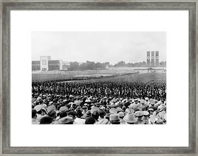 Crowd And Troops At A Massive Nazi Framed Print by Everett