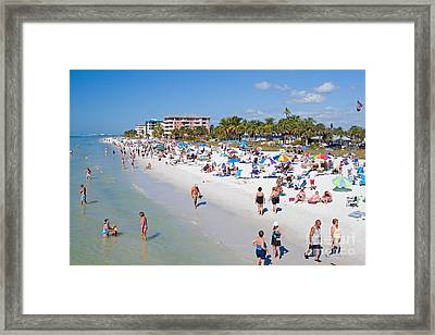 Crowd On A Summer Beach In Ft Meyers Florida Framed Print by ELITE IMAGE photography By Chad McDermott