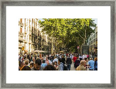 Crowds Along La Rambla - Barcelona Spain Framed Print by Jon Berghoff