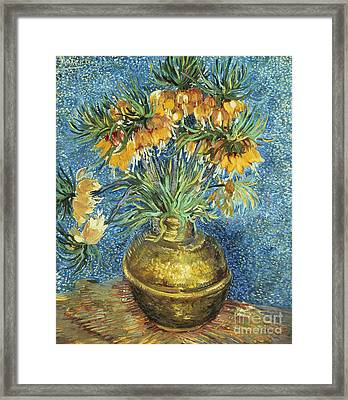 Crown Imperial Fritillaries In A Copper Vase Framed Print by Vincent Van Gogh