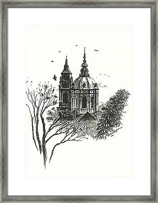 Crows Over Prague Framed Print by Margaryta Yermolayeva