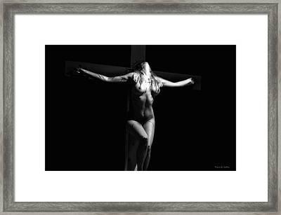 Crucified Woman Framed Print by Ramon Martinez
