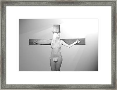 Crucifix And Light Framed Print by Ramon Martinez