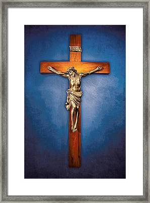 Crucifix On Blue Framed Print by YoPedro