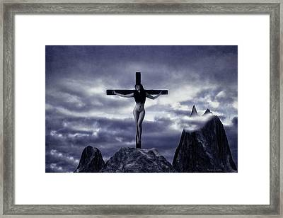 Crucifixion On The Mountain Framed Print by Ramon Martinez