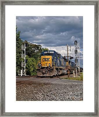 Csx Train Headed West Framed Print by Pamela Baker