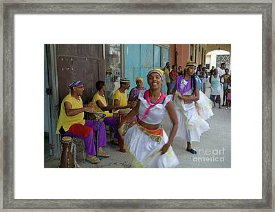 Cuban Band Los 4 Vientos And Dancers Entertaining People In The Street In Havana Framed Print by Sami Sarkis