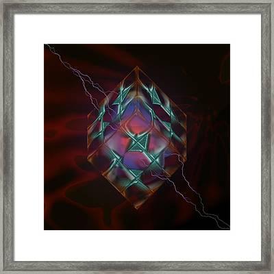 Cube With Thunders 01 Framed Print by Aleksandar Zisovski