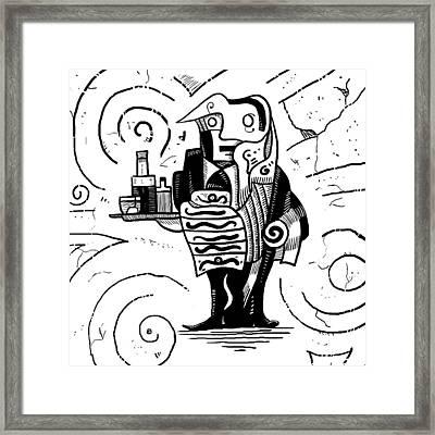 Cubist Waiter Framed Print by Erki Schotter
