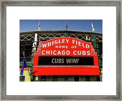 Cubs Win Framed Print by Andrew Soundarajan