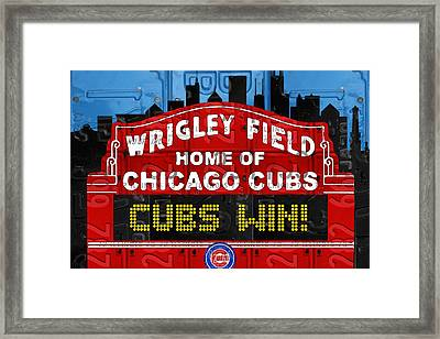 Cubs Win Wrigley Field Chicago Illinois Recycled Vintage License Plate Baseball Team Art Framed Print by Design Turnpike