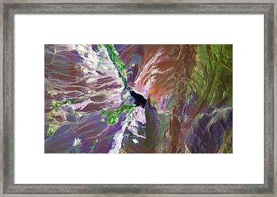 Cuesta Del Viento Reservoir Argentina Framed Print by Elaine Plesser