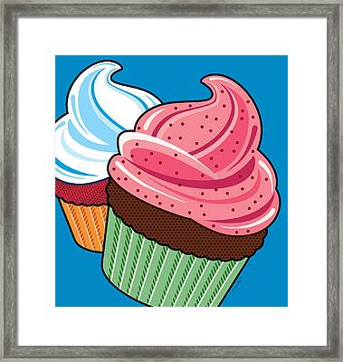 Cupcakes On Blue Framed Print by Ron Magnes