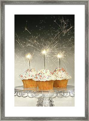Cupcakes With Sparklers Framed Print by Sandra Cunningham