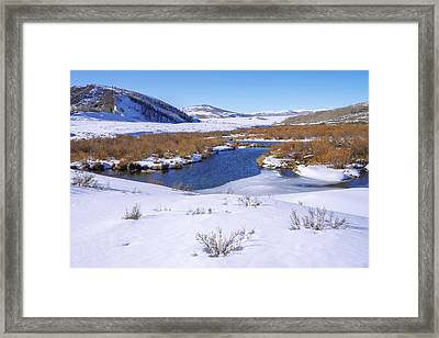 Currant Creek On Ice Framed Print by Chad Dutson