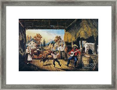 Currier & Ives: Barn Dance Framed Print by Granger