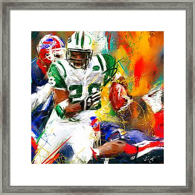 Curtis Martin New York Jets Framed Print by Lourry Legarde