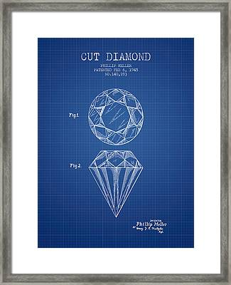 Cut Diamond Patent From 1873 - Blueprint Framed Print by Aged Pixel