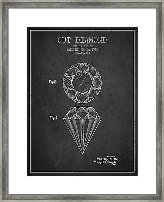 Cut Diamond Patent From 1873 - Charcoal Framed Print by Aged Pixel