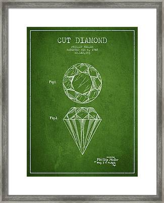 Cut Diamond Patent From 1873 - Green Framed Print by Aged Pixel