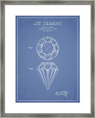 Cut Diamond Patent From 1873 - Light Blue Framed Print by Aged Pixel