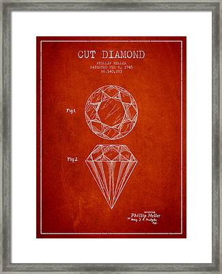 Cut Diamond Patent From 1873 - Red Framed Print by Aged Pixel
