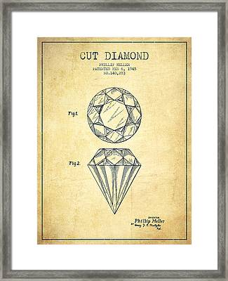 Cut Diamond Patent From 1873 - Vintage Framed Print by Aged Pixel