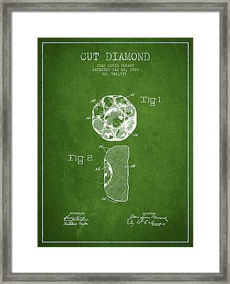 Cut Diamond Patent From 1910 - Green Framed Print by Aged Pixel